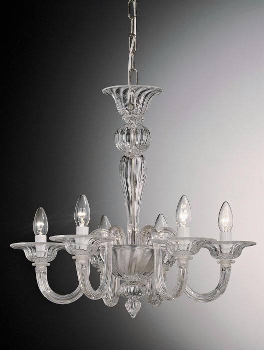 6 Arm Murano Glass Chandelier In Choice Of Colours 55106 Glass