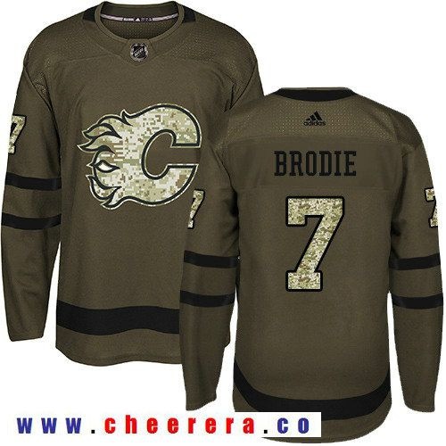 Adidas Flames #7 TJ Brodie Green Salute to Service Stitched NHL Jersey |  Hockey Jerseys | Pinterest | Nhl jerseys, Nhl hockey jerseys and Hockey