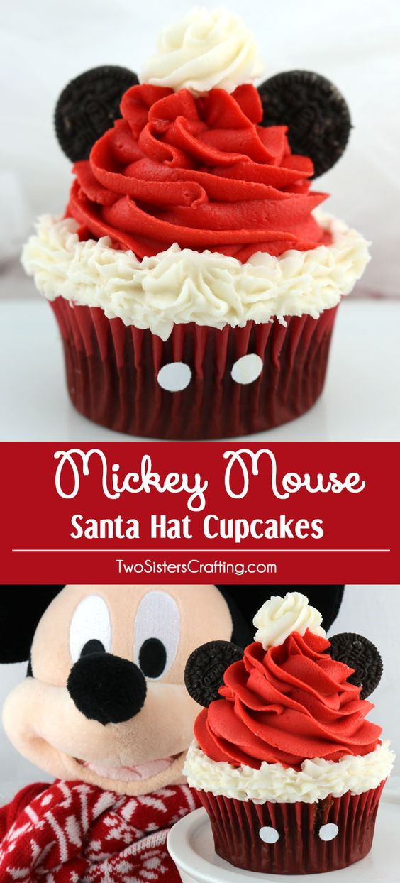 Mickey Mouse Santa Hat Cupcakes - these fun Christmas Cupcakes with a Disney theme will be a big hit at your Holiday Party. So adorable, so delicious and so easy to make. Pin this yummy Christmas Treat for later and follow us for more fun Christmas Food Ideas.