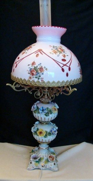 Capodimonte Porcelain Table Lamp : Capodimonte vintage table lamp with a glass shade p