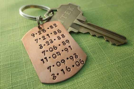 these are stamped, but laser etched keychains might be a good idea...