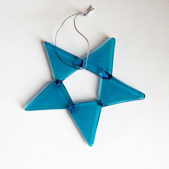 Iridescent Turquoise Glass Star Handmade Holiday Decoration | SteiderStudios - Novelty on ArtFire