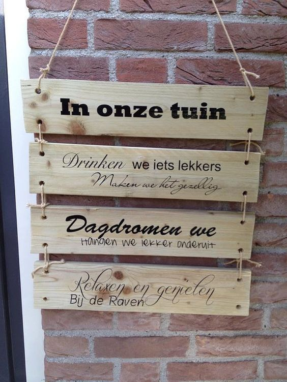 Garden signs tuin and verandas on pinterest - Houten tuin decoratie ...