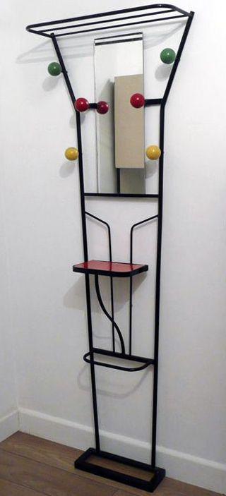 Vestiaire avec miroir fer forg et formica ann es 50 for Miroir annees 50
