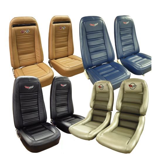 C3 Corvette 1972 1982 Embroidered Leather Seat Covers Set Of 2 100 Leather Corvette Mods In 2020 Leather Seat Covers Leather Seat Embroidered Leather