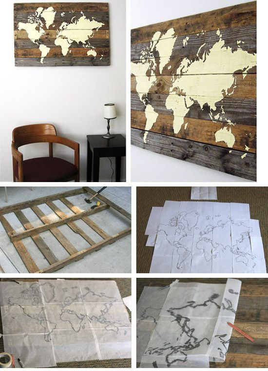 Map Wall Decor Ideas : Carte du monde dyi sur bois pour d?coration murale