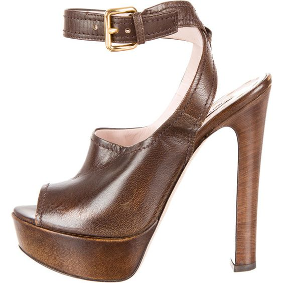 Pre-owned Miu Miu Peep-Toe Pumps ($125) ❤ liked on Polyvore featuring shoes, pumps, brown, real leather shoes, brown pumps, peeptoe shoes, genuine leather shoes and leather shoes