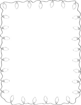 Free Retro Holiday Lights Border By Teacher Thrive Teachers Pay Teachers Clip Art Borders Clipart Black And White Christmas Lights Clipart