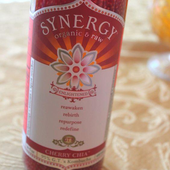 Synergy Cherry Chia: 95% Raw & Organic Kombucha, 5% Organic Cherry Juice and Raw Chia Seeds. Purely AMAZING!!! <3