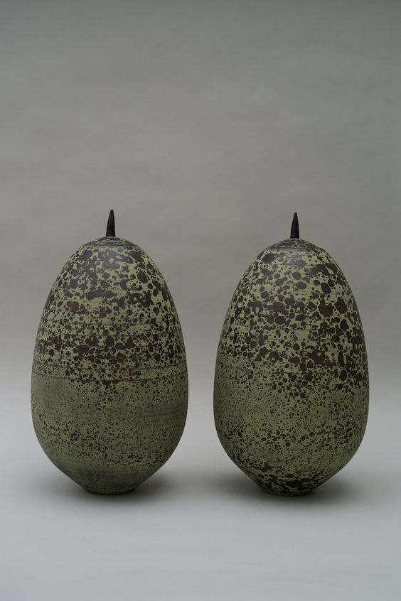 Christiane Wilhelm, Pair of containers, 2014, stoneware, thrown, dark and green slip burnished, 49 cm height: