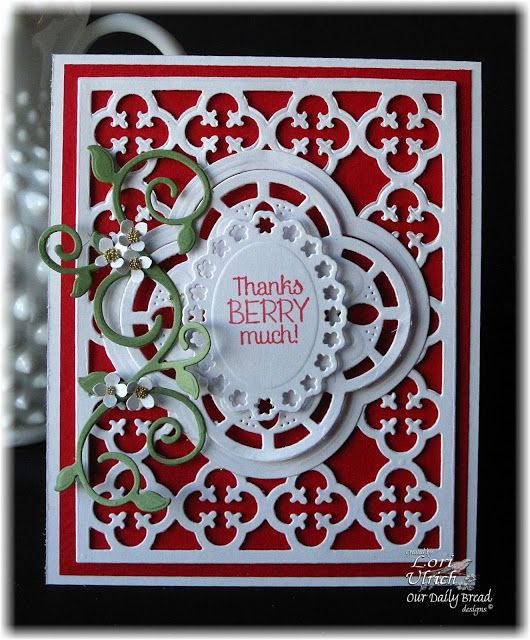 Created with Our Daily Bread Designs Custom Dies, Quatrefoil Pattern, Quatrefoil Design, Fancy Foliage and Strawberries stamp set.