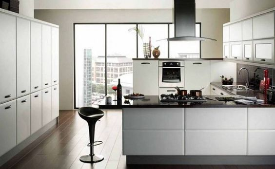 white-modern-wooden-kitchen-cabinets-black-modern-countertops-black-modern-chair-brown-classic-wooden-flooring