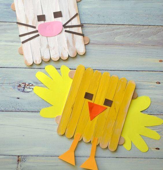 Ecco delle idee semplici per effettuare in casa con i bimbi piccoli dei lavoretti pasquali fai da te: