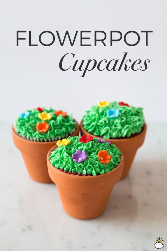 These Terra-Cotta Planter Cupcakes are perfect for the start of spring!