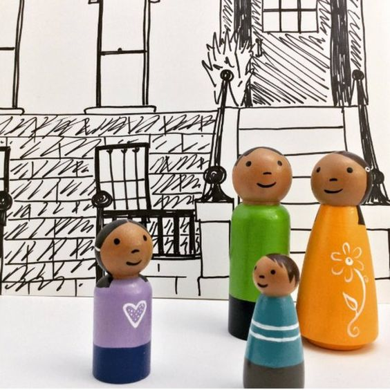 Wooden Finger Puppets Peg Doll Finger Puppets Boy and Girl with Capes Ready to Ship Painted Wood Finger Puppets Medium Skin Tone
