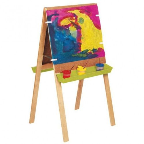 Double-sided Easel - An easel for 2 children which conveniently folds away. The stand is solid beech and the boards are easy-to-clean hardboard.  • L/W (board) 65 x 60cm • H (easel) 120cm