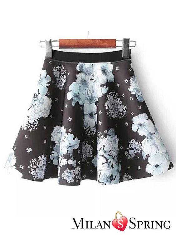 Fashion Printing Pleated Cotton skirt