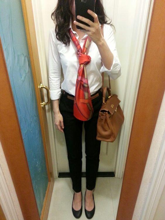 pursevalley replica - UNIQLO shirt, Hermes maxi twilly, Zara pants, Hermes reversable ...