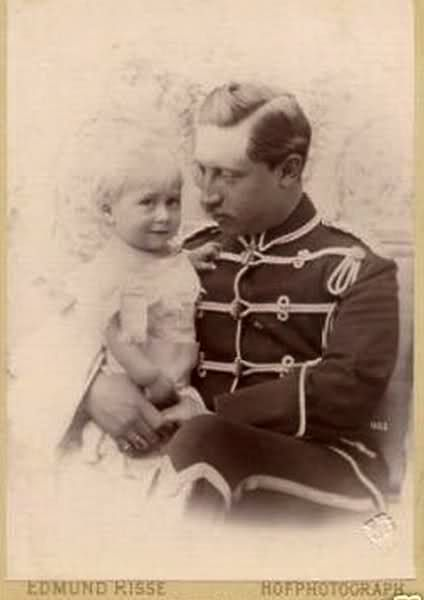 A tender portrait of Kaiser Wilhelm II with his firstborn child, son Crown Prince Friedrich Wilhelm, who would never rule.: