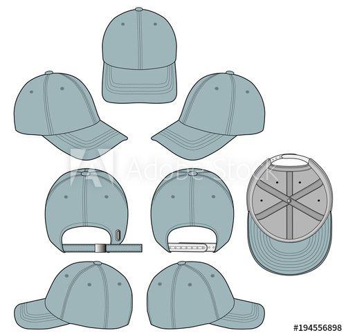 Baseball Cap Denim 2018 Vector Illustration Flat Sketches Template Baseball Caps Fashion Technical Drawing Sports Quilts