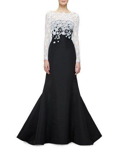 W0DHU Oscar de la Renta Faille Trumpet Gown w/Guipure Lace Overlay, Black/White