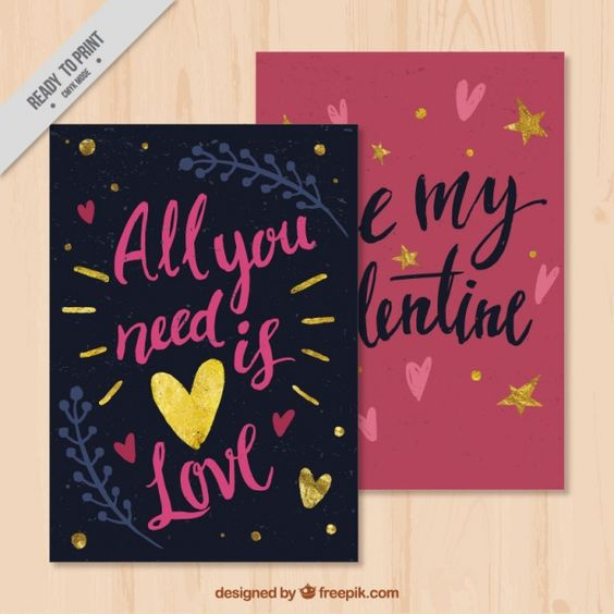 Vintage valentine cards with messages Free Vector – Valentine Cards with Messages