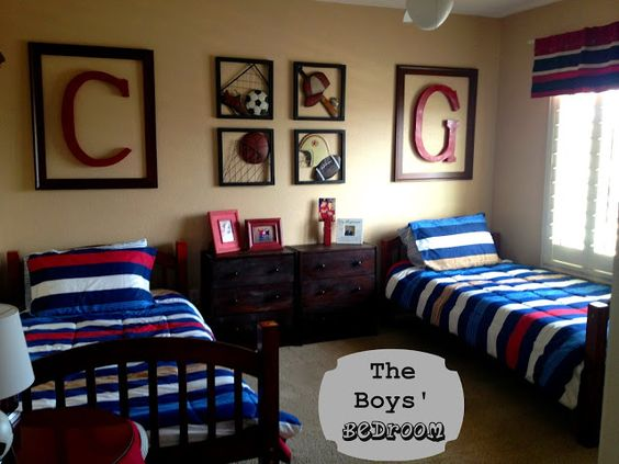 The Boys' Sports Themed Bedroom. From Marci Coombs Blog
