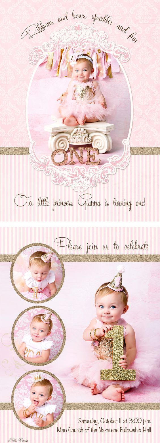 First Birthday party invitation pink gold glitter cake smash session photoshop…