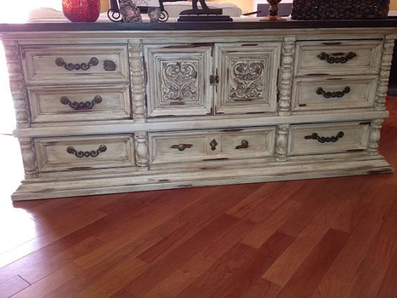 Distressed.  Love the hardware too!