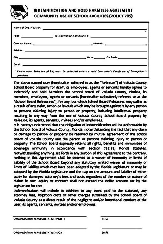Hold Harmless Agreement Template Agreement Hold On Templates