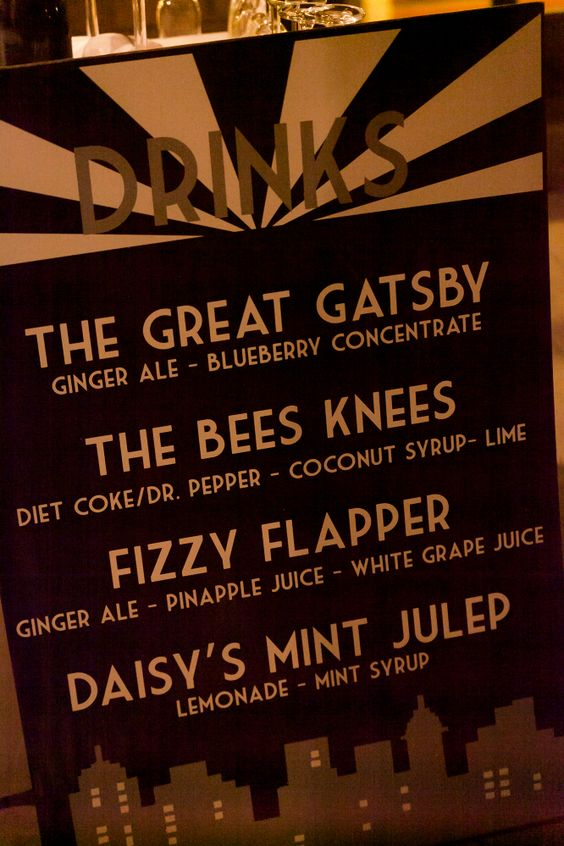 Roaring 20's / Great Gatsby Theme! So cool! Inspired drink menu, photo by: Chelsea Lewis Photography