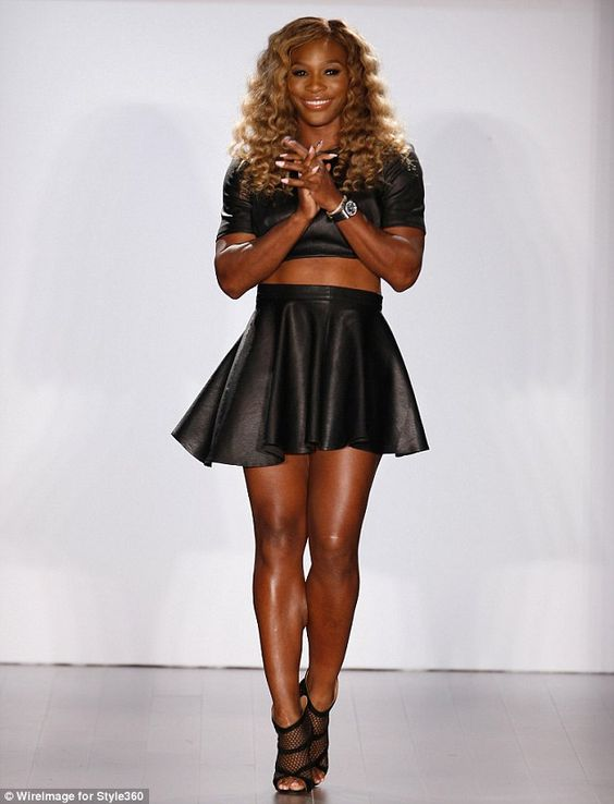 Serena Williams walked the runway for her show at #NYFW in a leather crop top and skirt combo http://dailym.ai/1uIW6Jy