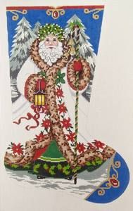 christmas stocking cross stitch patterns | CHRISTMAS STOCKING-ELEGANT SANTA-COUNTED CROSSTITCH PATTERN -ONLY