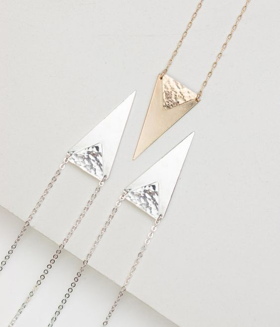 Long Gold Necklace Stacked Triangles Necklace / by GLDNjewelry