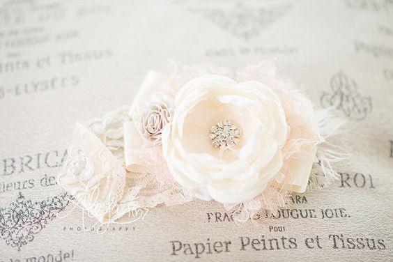 Vintage inspirado diadema flor crema marfil y por lepetitejardin