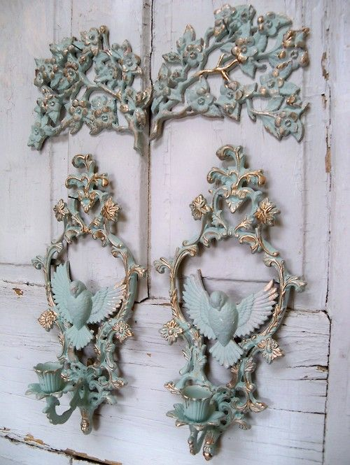Aqua vintage wall grouping with gold accents shabby chic wall decor Anita Spero