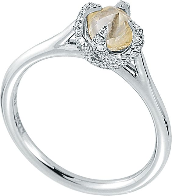 Signature ring featuring a 1.02ct rough diamond accented with 0.13cts of micro pavé diamonds in p...