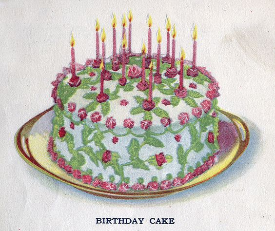 Such a wonderfully pretty floral decorated vintage birthday cake. #food #pink #cake #vintage #birthday #candles #flowers #leaves