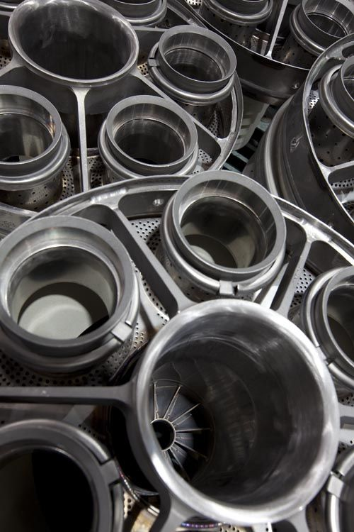 Stack of turbine parts at GE Energy's Turbine Services facility in Abu Dhabi…
