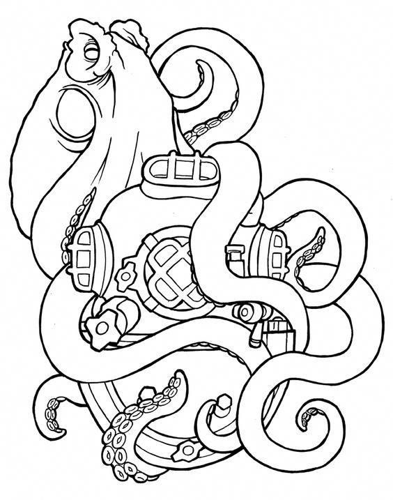 Artofscubadiving With Images Tattoo Coloring Book Octopus