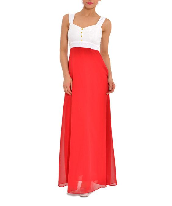 Look at this Red & Cream Color Block Sleeveless Maxi Dress on #zulily today!