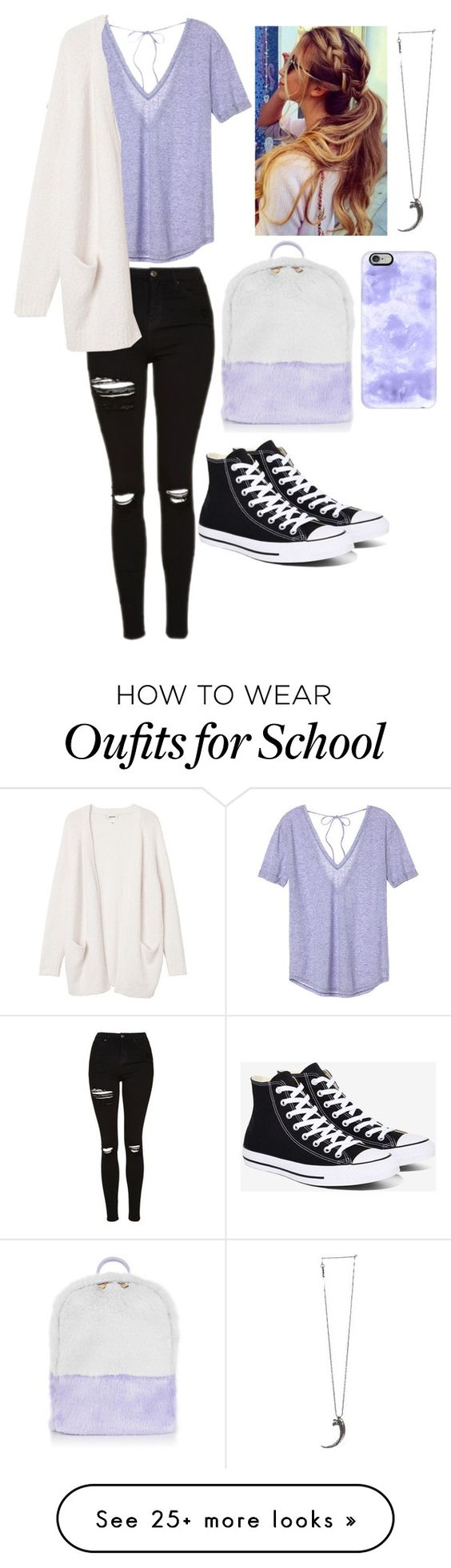 """School: Casual"" by hakay on Polyvore featuring Topshop, Victoria's Secret, Converse, Monki, Pamela Love and Casetify"