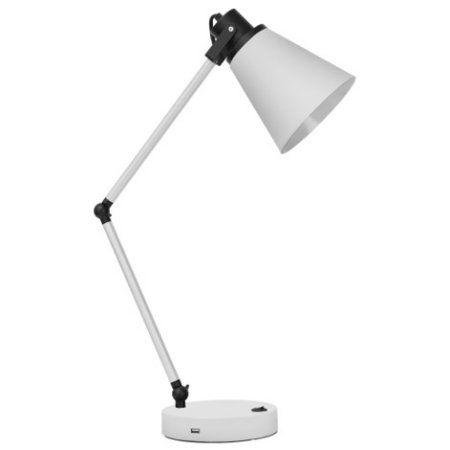 Better Homes Gardens Metal Desk Lamp With Usb Port White Walmart Com Metal Desk Lamps Desk Lamp Metal Desks
