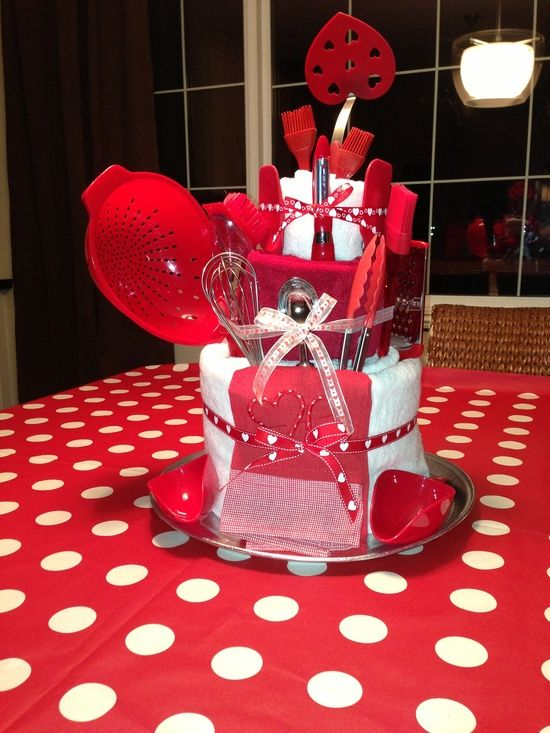 Bridal shower towel cake crafts red and white bridal for Bridal shower kitchen tea ideas