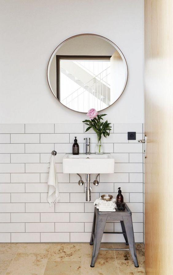 Home Tour: Ladylike Scandinavian Simplicity// toilx stool, powder room