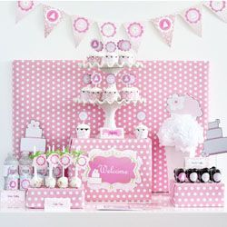 Pink Cake Themed Party Kit: Baby Shower Ideas, Party Decoration, Party Inspiration, Cakes Baby Showers, Sweet Table, Party Ideas, Birthday Ideas, Pink Cake