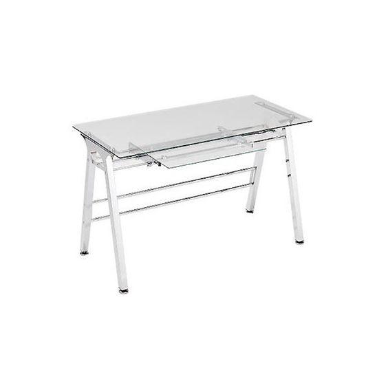 Silla tapizada gris de metal plump mesas acero y metales - Mesa escritorio cristal ikea ...