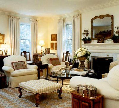 Even though I would prefer more color, this room has very nice furniture, an interesting rug,& most of all looks very comfortable, which a room needs to be for people to want to use it.: Livingrooms, Traditional Living, Living Spaces, Decorating Ideas, Formal Living Rooms, Family Rooms, Room Design, Living Areas, Furniture Placement