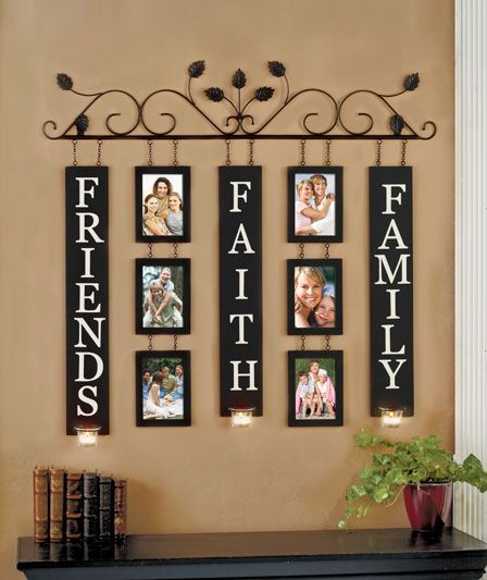 Hanging words and pictures on leafy wire frame.
