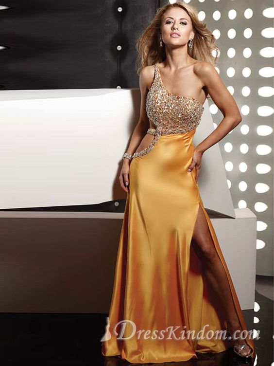 Sexy Chic Sheath / Column One Shoulder Floor-length Silk like Satin Beaded Prom Dress / Evening Dress [10105433] - US$128.99 : DressKindom